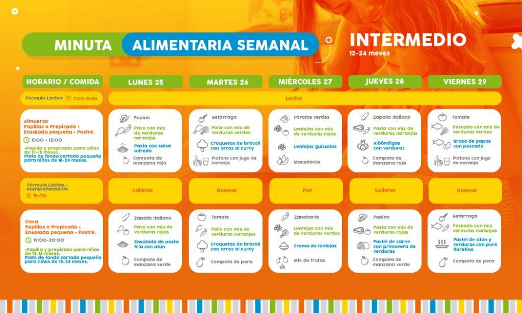 ==> Descarga: Minuta Semanal Nivel Intermedio 12- 24 meses