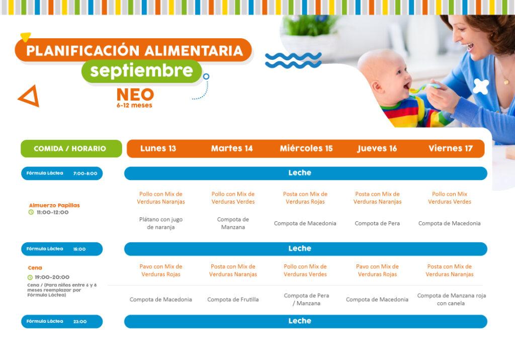 Minuta semanal de alimentación 13 al 17 de septiembre